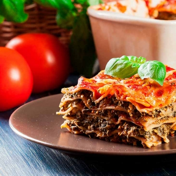 Vegetable and soy lasagne