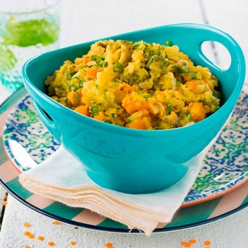 Lentilhas e legumes estufados