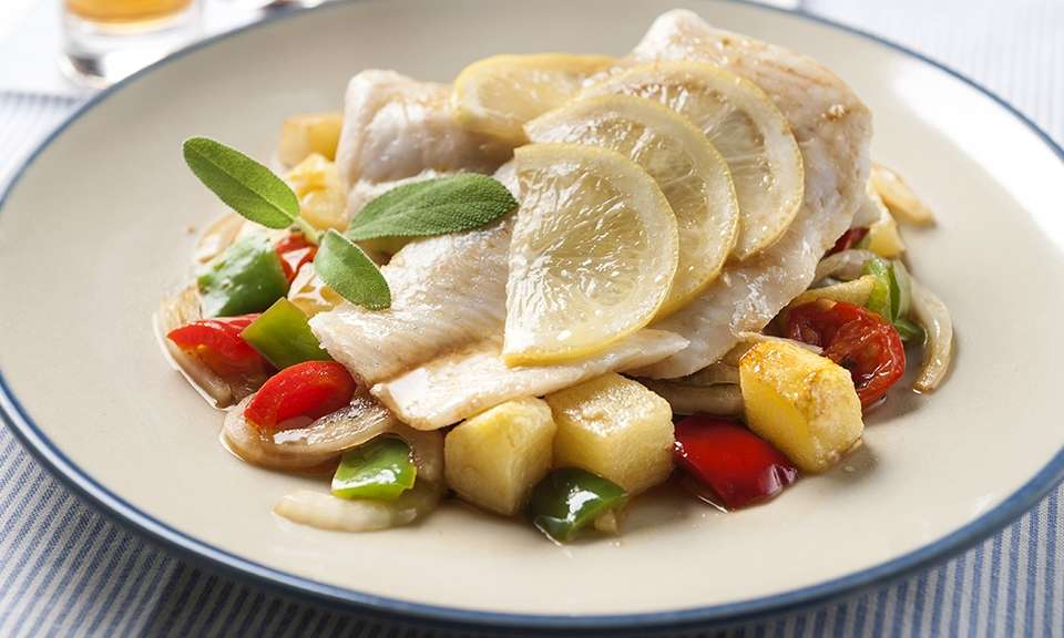 Steamed seabass with potatoes