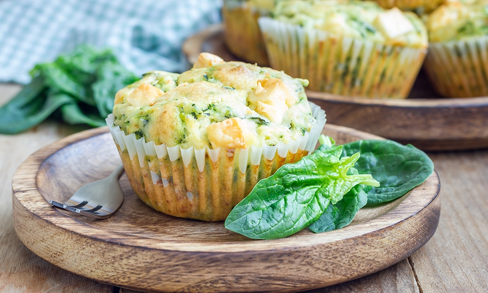 Fish and spinach muffins
